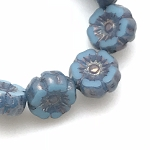 Hibiscus Flower - Sky Blue Silk with Bronze Wash- 7mm