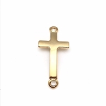 Curved Cross Charm - Gold