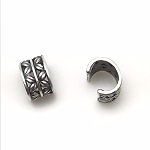 Leather Crimp Bead - X's - Silver
