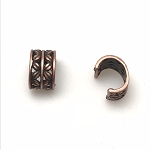 Leather Crimp Bead - X's - Copper