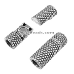 5mm round SMALL DOTS TUBE magnetic clasp ANT SILVER