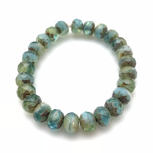 Aqua, Olivine, Crystal, and White Mix Opaque and Transparent with Picasso Finish- 7x5mm
