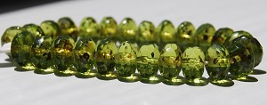 Olivine Transparent with Picasso - 7x5mm