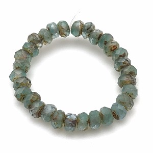 Aqua Green Crystal Mix Opaque Transparent with Picasso Finish- 5x3mm