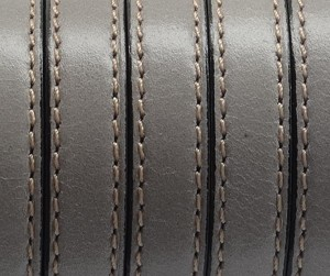 Flat Leather 10mm Stitched Gray