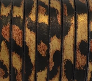 Flat Leather 5mm - per inch Leopard Print