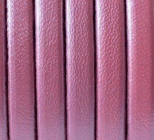 Flat Leather 5mm - per yard Metallic Pink