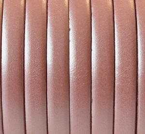 Flat Leather 5mm - per yard Metallic Salmon