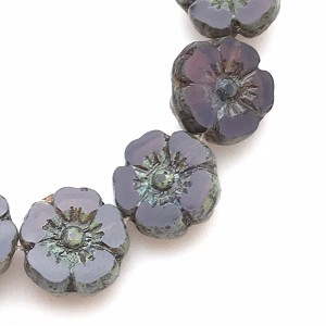 Hibiscus Flower - Purple Opaline with Picasso - 10mm