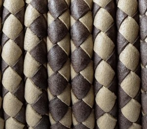 5MM Round Braided - Dark Brown and beige