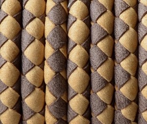5MM Round Braided - Medium Brown and light brown