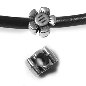 Flower bead for 5mm ROUND leather per piece