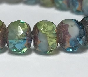 Aqua, Olivine and White Mix Opaque Transparent with Bronze finish- 7x5mm