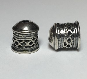Viking Knit end caps - Silver Criss-Cross
