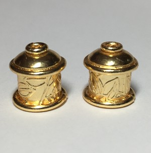 Viking Knit end caps - Gold Color Leaves