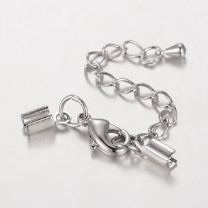3mm Crimp Clasp with extender chain - 20 pieces per bag