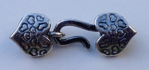 2mm Hook and Eye Crimp Clasp - Heart