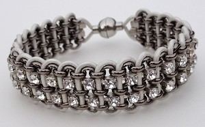 Double Crystal, Chain and Leather Kit - White and Gunmetal