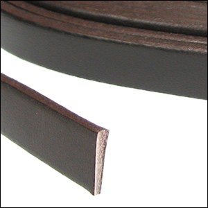 Flat Leather 10mm - per YARD Chocolate Brown
