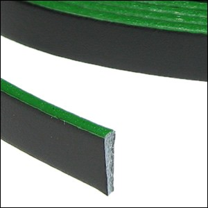 Flat Leather 5mm - per inch Black/Green