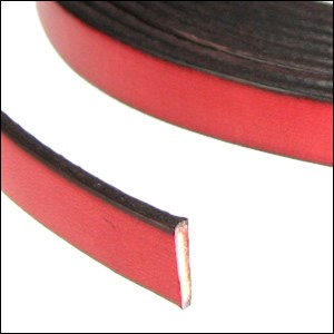 Flat Leather 10mm - per inch Red