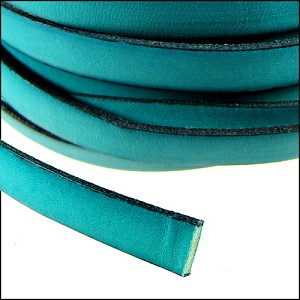 Flat Leather 5mm - distressed turquoise per inch