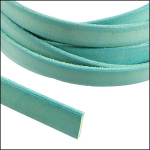 Flat Leather 5mm - distressed pastel turquoise per yard