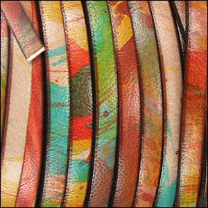 Flat Leather 5mm - per inch Multi Color