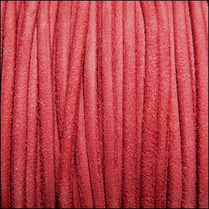 3mm round SUEDE Euro leather FADED RED - per 4 feet
