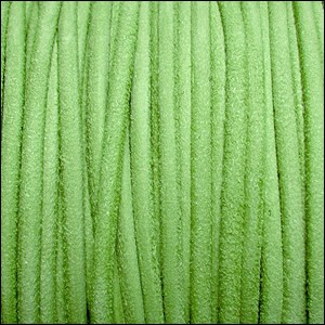 3mm round SUEDE Euro leather APPLE GREEN - per 4 feet