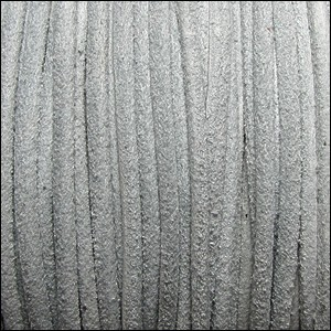 3mm round SUEDE Euro leather LT GREY - per 4 feet