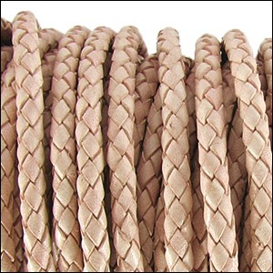 5MM ROUND BRAIDED EURO LEATHER PER INCH Natural