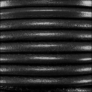 4.5MM ROUND EURO LEATHER PER INCH - Black