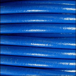 5MM ROUND EURO LEATHER PER INCH - Electric Blue