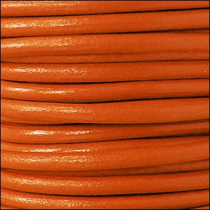 5MM ROUND EURO LEATHER PER INCH - Tangerine