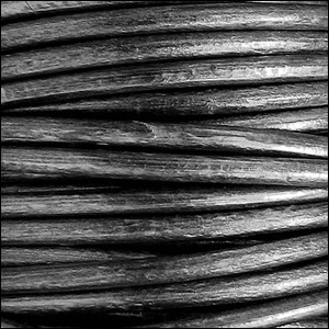 5MM ROUND EURO LEATHER PER YARD - Silver Black