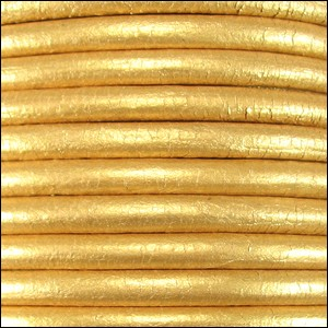 5MM ROUND EURO LEATHER PER YARD - Gold