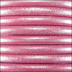 5MM ROUND EURO LEATHER PER INCH - Fuchsia