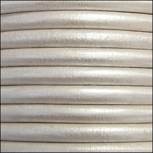 5MM ROUND EURO LEATHER PER INCH - White