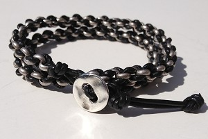 Woven Chain and Leather Kit - Antique Silver Silver Chain