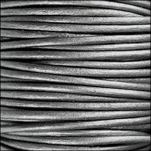 Metallic 1mm Leather per spool Grey