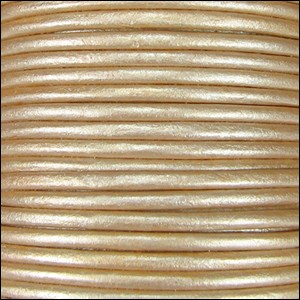 Metallic 2mm Leather per 3 yards Cream