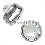 Small round crystal slider ANT SILVER per piece
