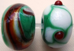 Swirls and Dots Glass Lampwork Beads