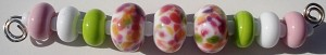 White Springtime Frit Set Glass Lampwork Beads