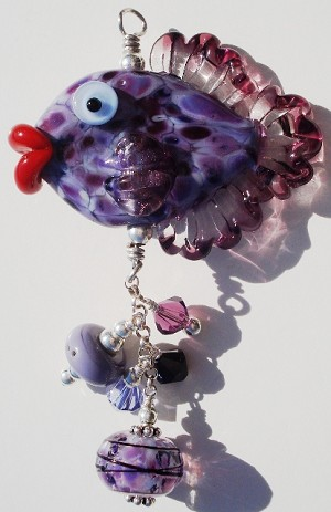 Purple Fish Glass Pendant