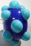 Bumps - Turquoise on Lapis Blue Glass Lampwork Beads