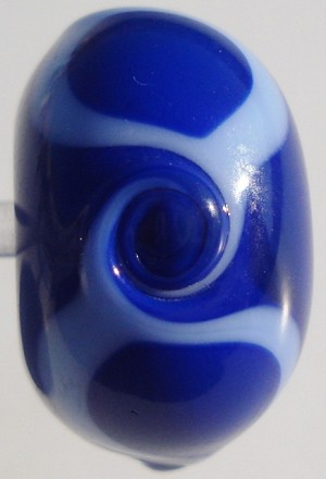 Wave - Lapis Blue on Periwinkle Glass Lampwork Beads