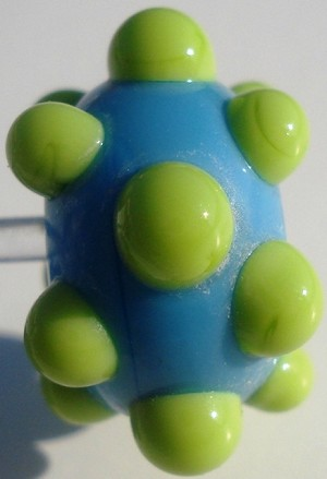 Bumps - Green on Turquoise Glass Lampwork Beads