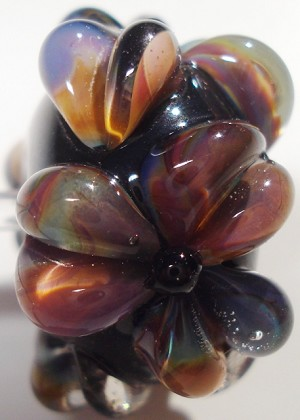 Raku on Black Glass Lampwork Beads